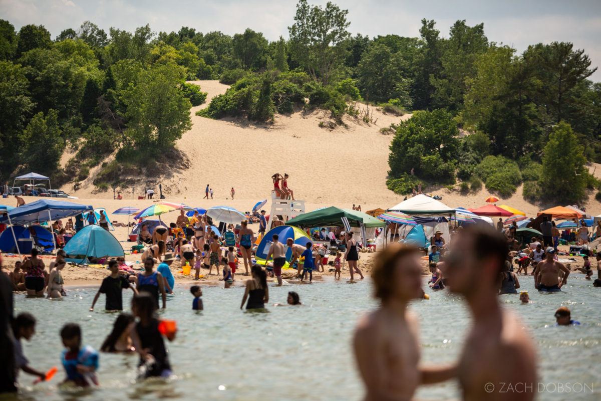 indiana dunes state park view of the dunes from water