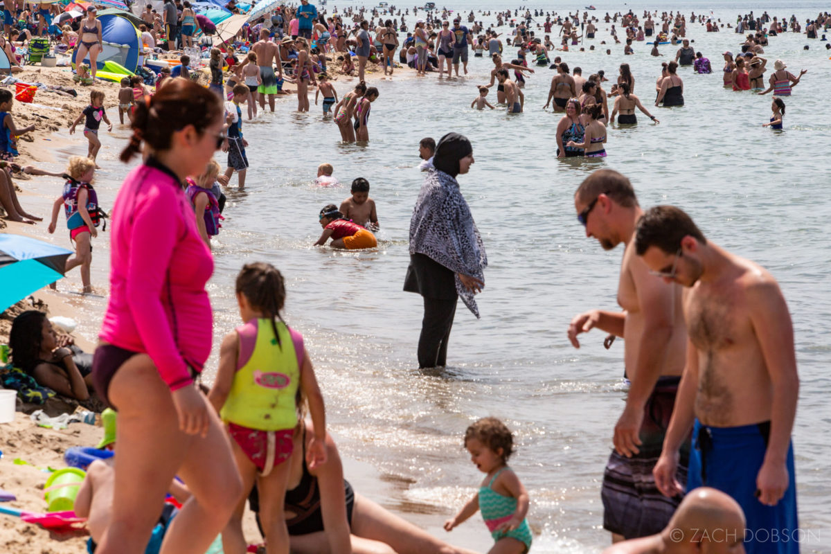 indiana dunes state park families in the water