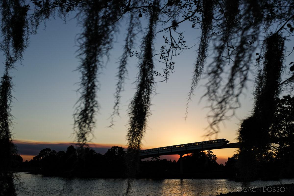 disney-world-monorail at sunset